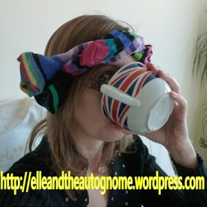 Crazy sock hat thingy and tea
