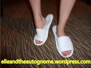 Hilarious one size 'fits' all hotel slippers. The toenails are orange for CRPS awareness month last November :-)
